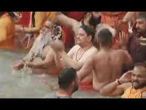 Former King Gyanendra Shah took a royal bath in the river Ganga