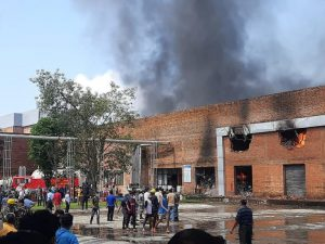 Huge fire in Chaudhary Group beer factory in Nawalparasi